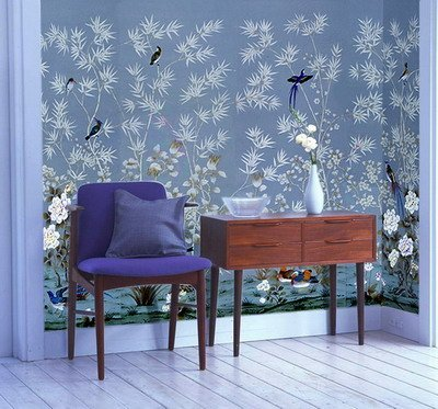 hand-painted silk wallpaper