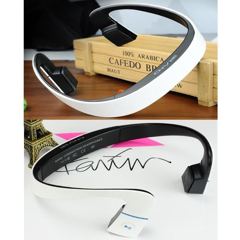 Bluetooth 4.1 Bone Conduction Sports Waterproof Headset Headphone w/ Mic <font><b>White</b></font> Ear Hook