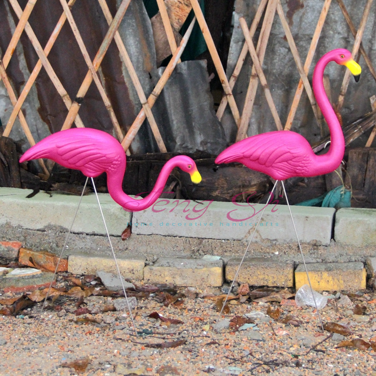 1 Pair pink plastic flamingos garden courtyard lawn decoration Wedding Party jardin landscape dressing decorated ornaments(China (Mainland))