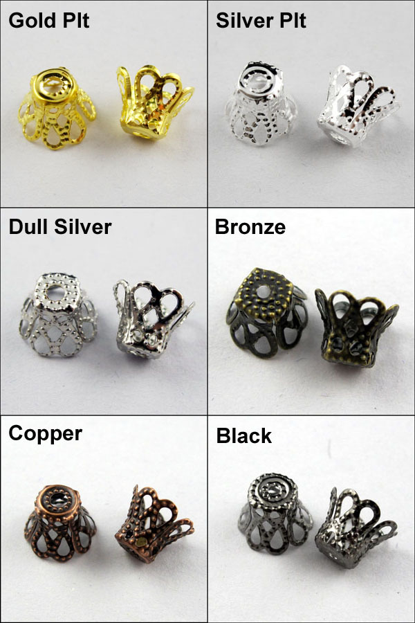 Free Shipping 1000Pcs 7x8mm Wine Class Flower Bead Cap Gold Silver Bronze Copper Black etc.Wholesale(China (Mainland))
