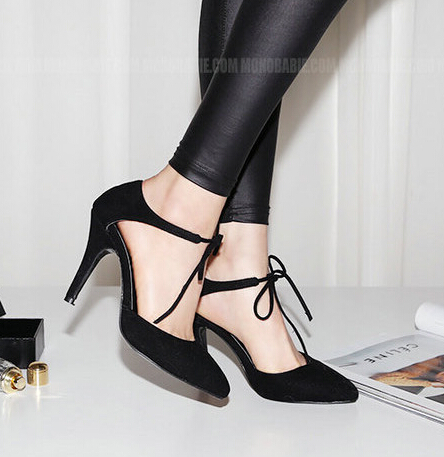 Thin heels Lace-Up Women Pumps Pointed Toe High Heels Flock Wedding Shoes Black Wine RED Size 34-39 - river chen's store