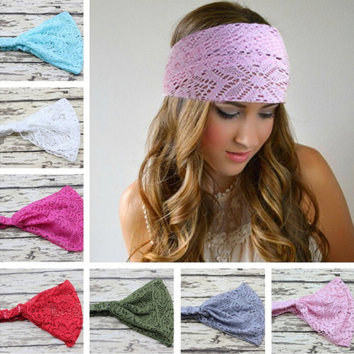 Hot sale! Girl's Fashion Stretchy Wide Lace Headband Turban Head Bandanas Hairband(China (Mainland))