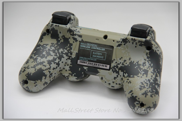Matte Unique Camouflage Dual Vibration Shock 6 Axis Bluetooth Wireless Controller for Sony PS3 - M.S.000859(China (Mainland))
