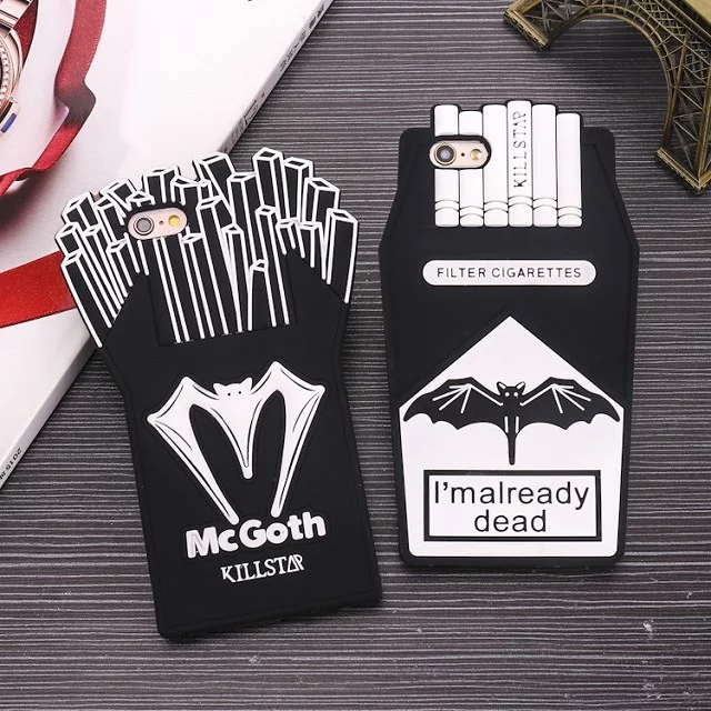 3D Soft Silicone Killstar Already Dead/Mcgoth Phone Cases for iPhone 5 5S SE 6 6S 6 Plus Fries Chips Cigarette Batman Back Cover(China (Mainland))