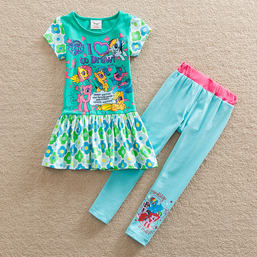 Girls skirts pants suit children wearing summer new pony bao li girls cotton dress cultivate one's morality pants suit TQ9115