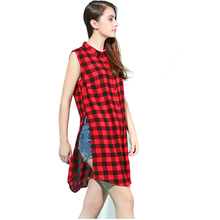 Women Red black Plaid Turn-down Collar sleeveless summer Shirt Blouse Split Casual fashion top quality 100% cotton plus size