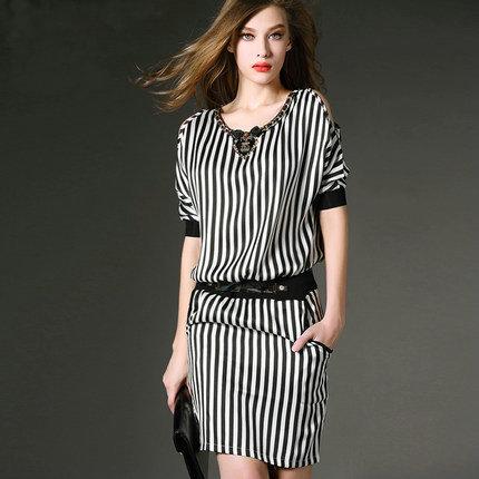 2015 Summer  womens Slim stripe dress casual all-match elegant ol slim stripe print dress Women Work Wear OL DressОдежда и ак�е��уары<br><br><br>Aliexpress
