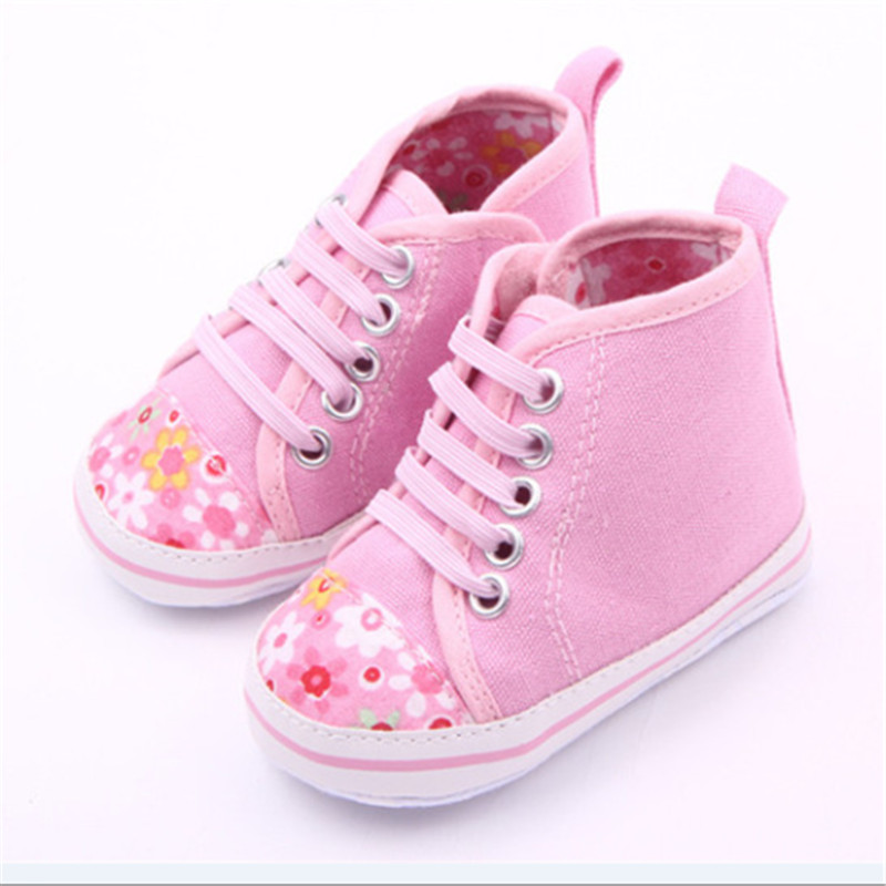 Lovely Flower Floral Infant Toddler Baby Girl Soft Sole Crib Shoes First Walker Canvas Newborn Sneakers Age 0-18 Month Discount(China (Mainland))