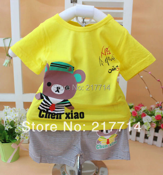 2014 new model summer baby suits fashion character small children short sleeve clothing baby garment wholesale 6602(China (Mainland))