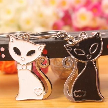 K57 Cat Black White Couple Key Chain Promotional Keyring 2 Pieces/Pair - Pheninex Gift Co.,Ltd. store