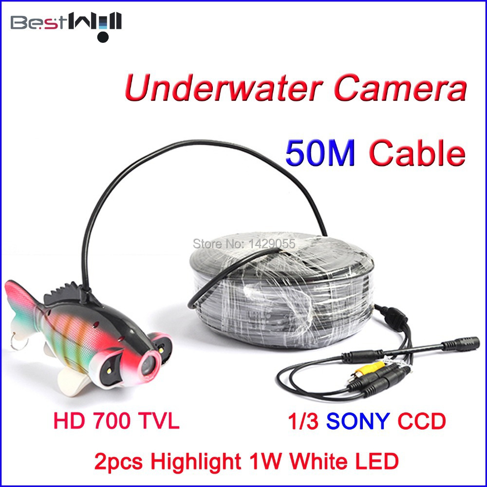 FREE Shipping CR006J Underwater Camera Underwater Fishing Camera with 2pcs 1W Highlight White LED @ 50M Cable(China (Mainland))