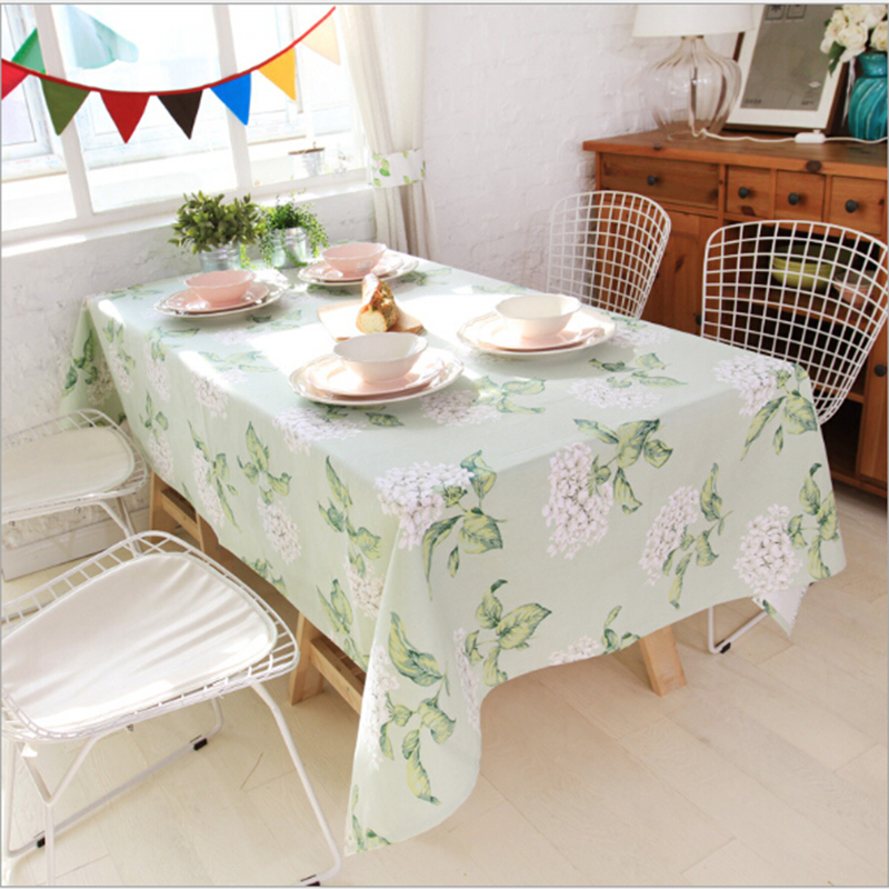 Free shipping 100% cotton pastoral table cloth with super quality cloth fresh green leaves cover comfortable table decoration(China (Mainland))