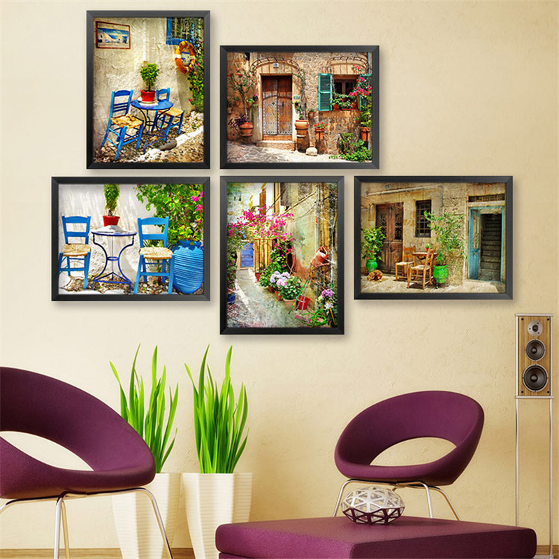10pcs/lot Mediterranean Retro Street Restaurant Canvas Art Print Poster, Wall Pictures for Home Decoration, Wall Decor No Frame(China (Mainland))