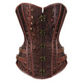 Steampunk Gothic Corset Brown Black Jacquard Lace Up Boned Overbust Bustier Clubwear Body Shaper Plus size