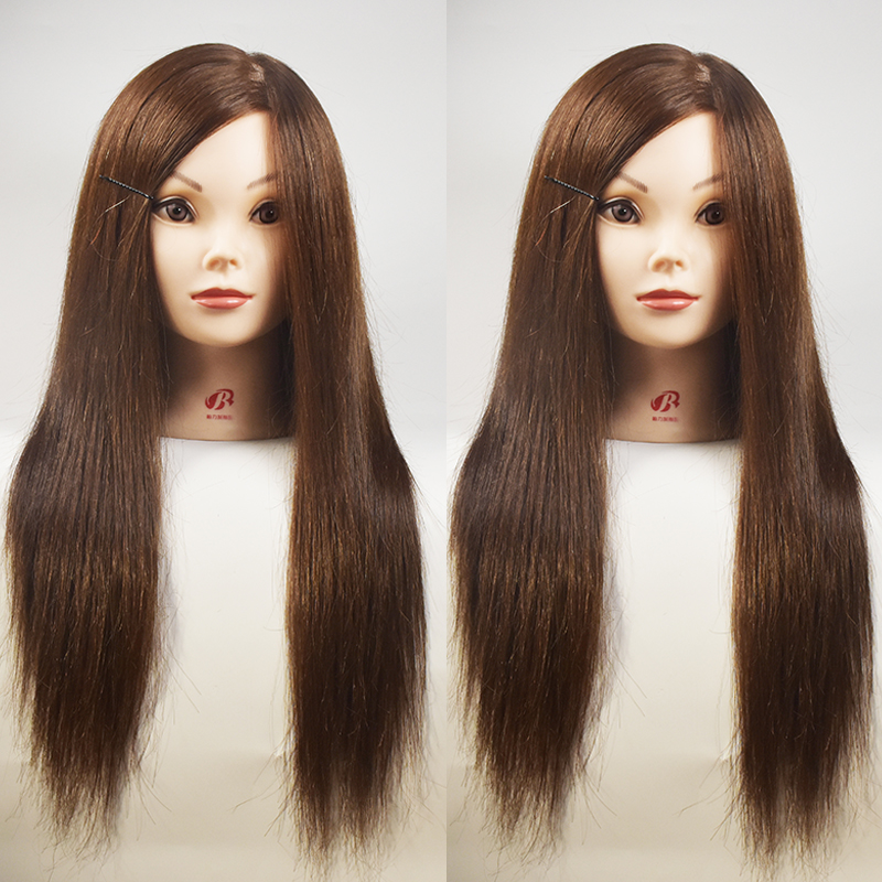 45CM Human Hair Mannequin Training Head Manikin Hairdresser Cosmetology Head For Sale Professional Hairdressing Dolls Head