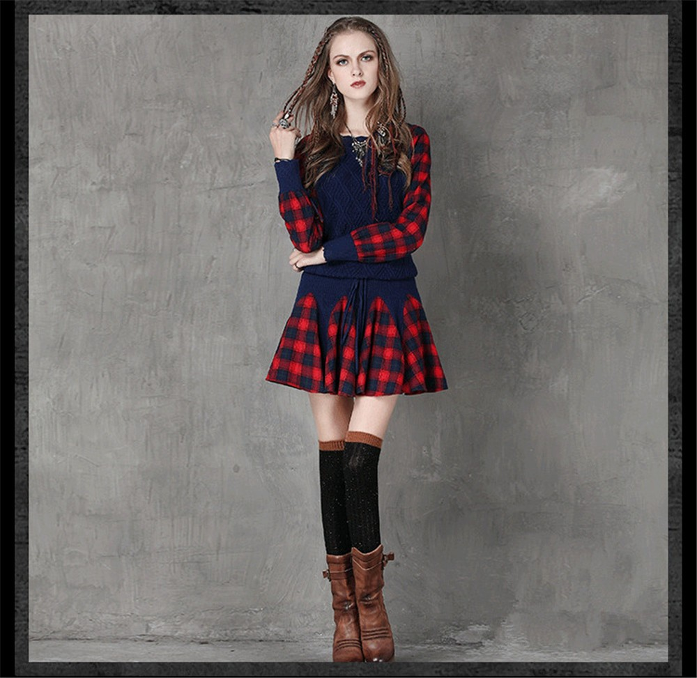 Vintage Wool WINTER DRESS 2016 Casual Knitting Long Sleeve Women Dress Plaid Sashes Patchwork Sweater Dress Woman O-neck Vestido (11)