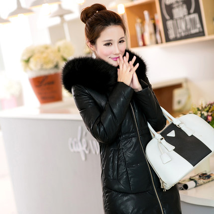 Women winter jacket 2014 new winter authentic Nagymaros collar down jacket Girls long sections thicker Slim leather coat DM556