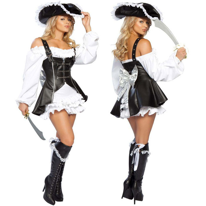 Pink And Black Womens Pirate Costume Punk Pirate Costume Women