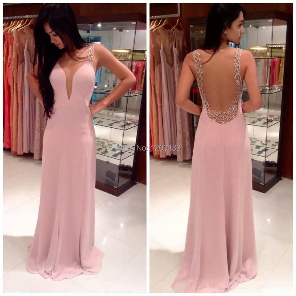Vestido де феста лонго пром платья вышивка бисером глубокое круглое декольте прозрачный задняя часть шифон розовый вечерние платья ну вечеринку платье