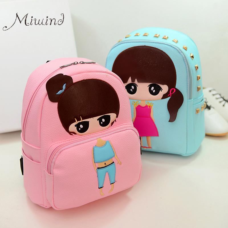 High Quality PU Leather Children Girls Mini Bag Cute Printing Anime Rivet Zipper 2017 Waterproof Dora Small Backpacks Mochila(China (Mainland))