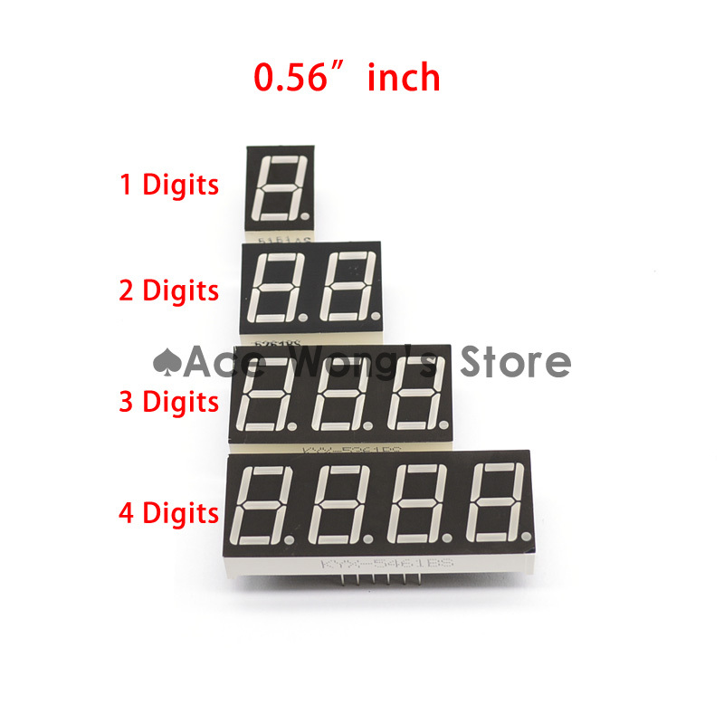 "Гаджет  Big Sale!!! 20pcs 1 / 2 / 3 / 4 bit (5pcs per size) Common Cathode Positive Digital Tube 0.56"" 0.56in. Red LED Display 7 Segment None Электронные компоненты и материалы"