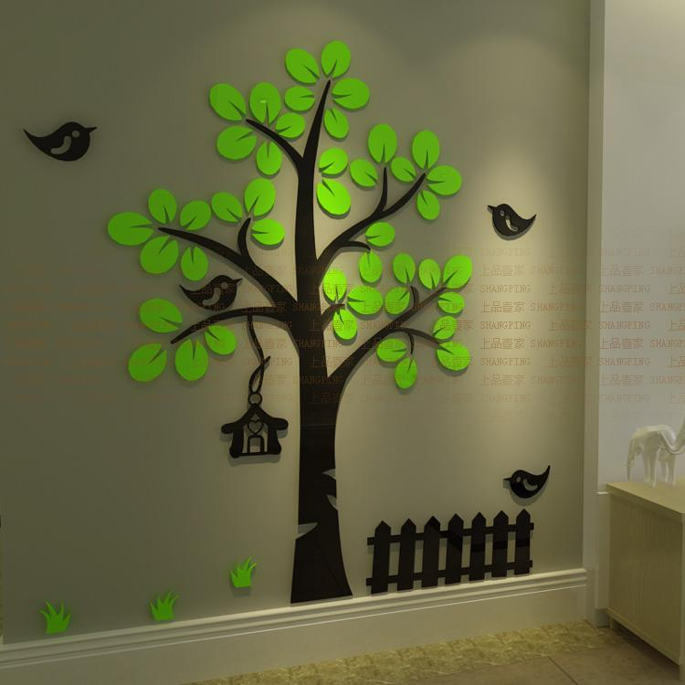 New 2015 3d crystal acrylic three dimensional wall for Sticker mural 3d