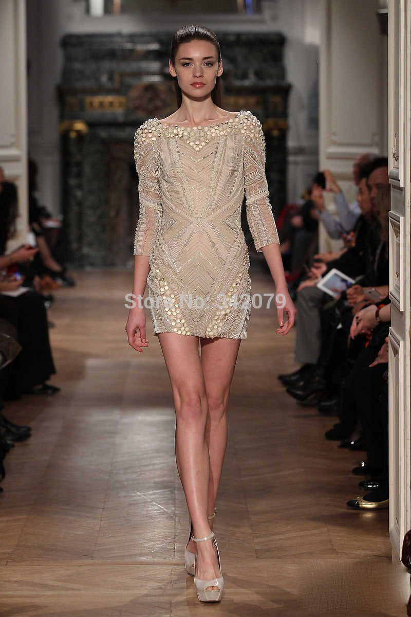ph07801 short dress fully Crystal 3/4 sleeve tony ward couture spring summer 2014 cocktail party dress crystal gown(China (Mainland))