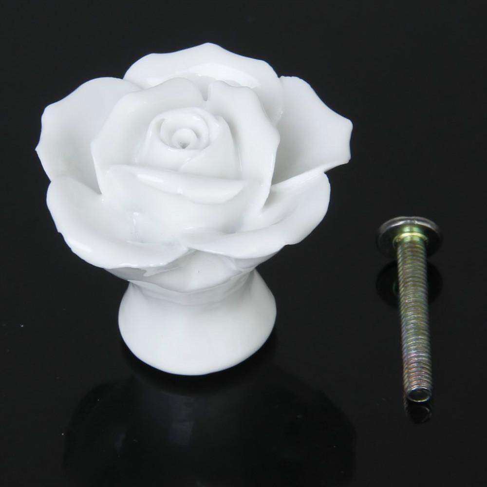 White flower dresser knob, Flower ceramic knob for cabinet, Kitchen