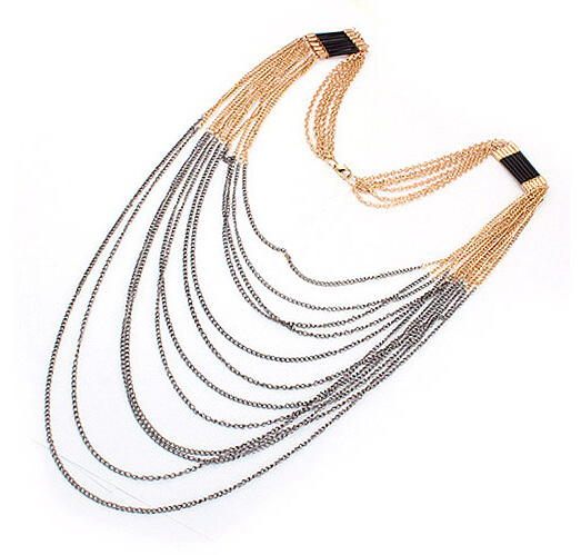 European Long Chain Tassel Necklace Jewelry Multi Layer Chains Fringe Necklace For Women Fashion Accessory Wholesale 6 Pcs <br><br>Aliexpress
