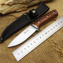BUCK Camping Fixed Knives,440 Blade Solid Wood Handle Small Hunting Knife,Survival Knife.(China (Mainland))