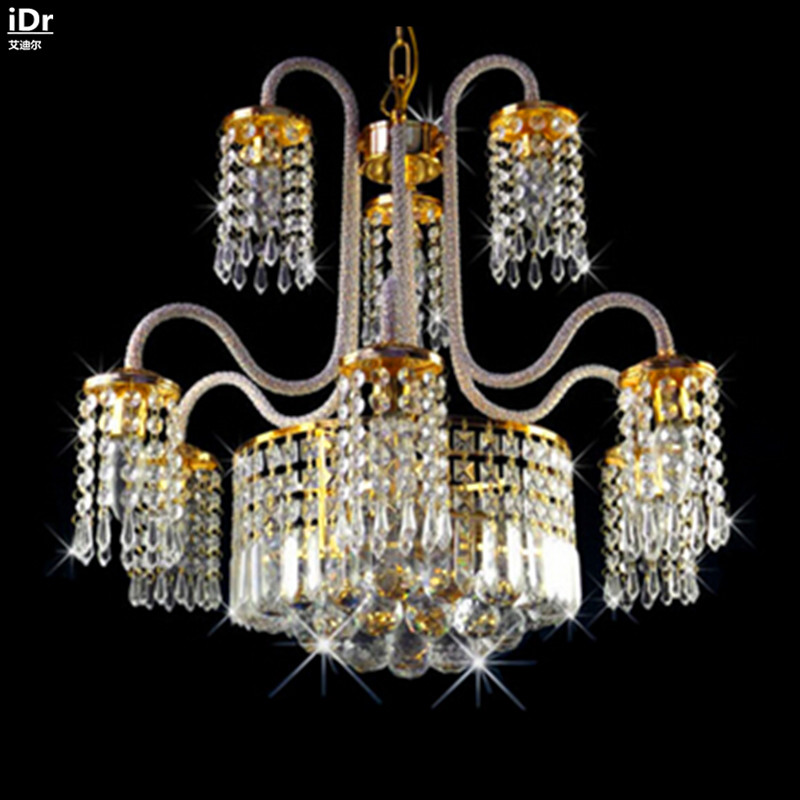 Contemporary crystal lighting Chandeliers traditional bedroom living room dining restaurant lights golden hanging(China (Mainland))