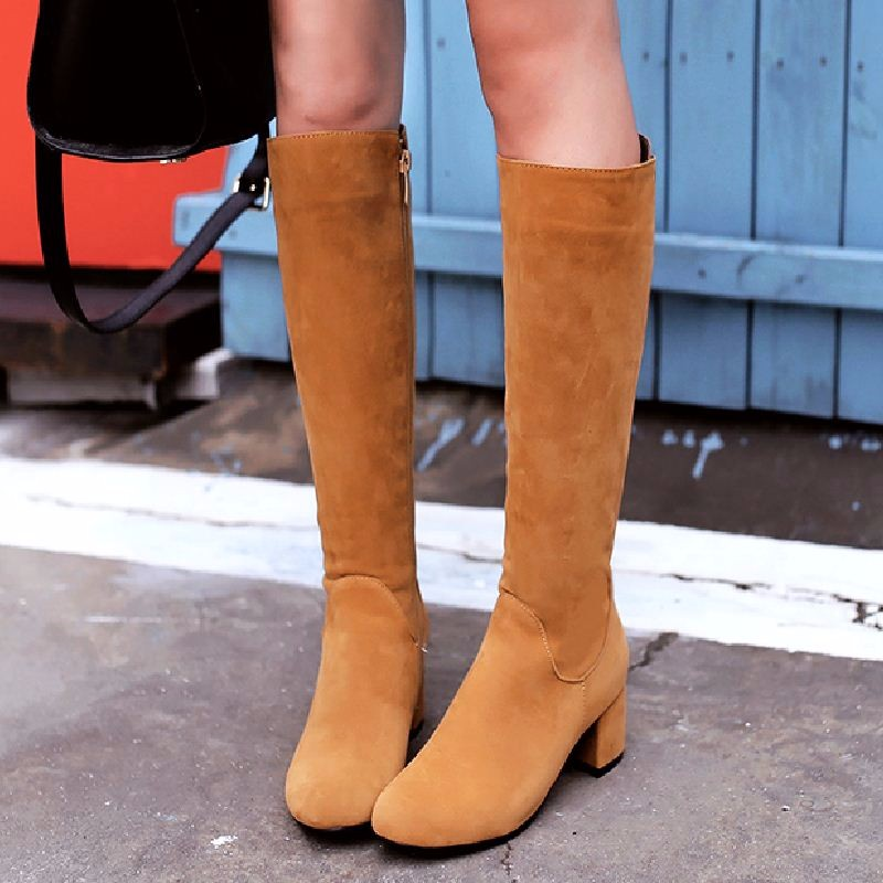 WETKISS Big Size 34-43 Concise Nubuck Knee Boots Thick Heels 2016 Fashion Shoes Woman Women's Autumn Winter Shoes