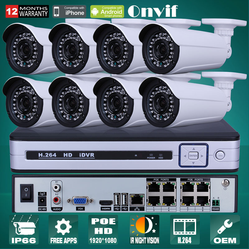 Plug And Play 1080P HD H.264 25fps IR IP Camera POE Security Surveillance Email Alarm Onvif 8CH NVR Kit POE CCTV System 3TB HDD<br><br>Aliexpress
