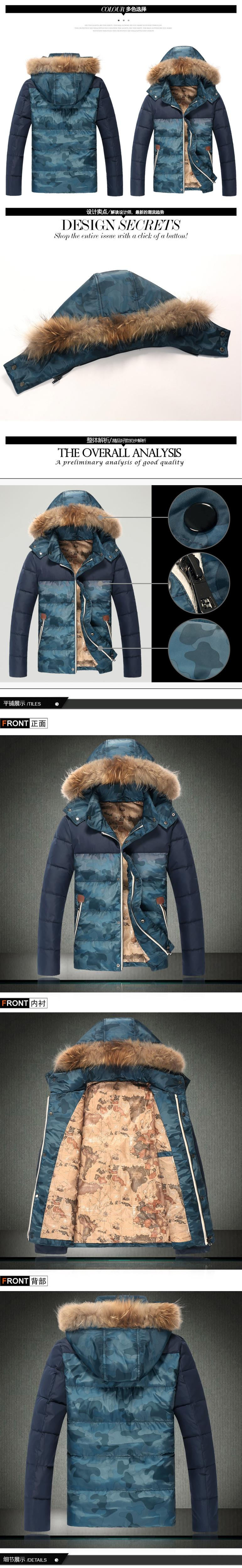 GustOmerD 2016 Yeni Kış Ördek Aşağı Ayrılabilir Hoodied Kamuflaj Ceket Erkekler Patchwork Sıcak Kürk Yaka Moda Kış Coat