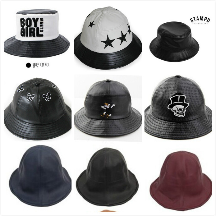 Bucket Hat Leather Faux Leather pu Bucket