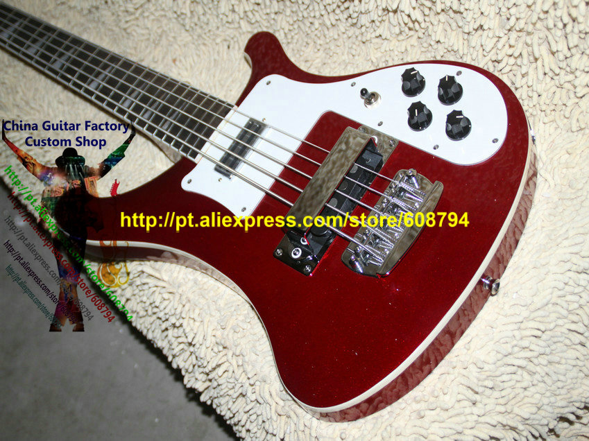 Custom 4003 Electric Bass 5 Strings Electric Bass Guitar Red New style Custom China guitar Free shipping(China (Mainland))