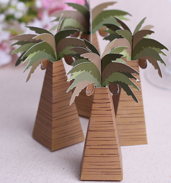 Wholesale 50 x Creative Romantic Beach Wedding Favors Baby Shower Favors Coconut Palm Tree Candy Box Party Gifts Chocolate Boxes(China (Mainland))