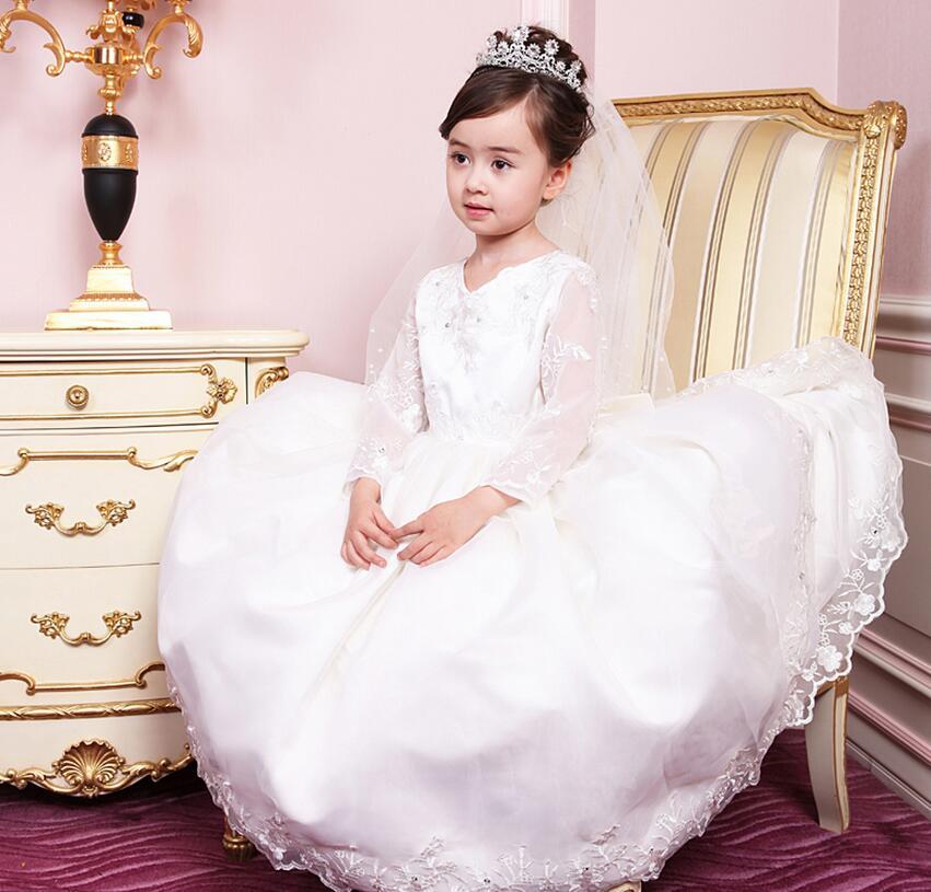 High quality girl dress elegant pure white fashion first holy communion dress wedding flower children's wear fashion(China (Mainland))