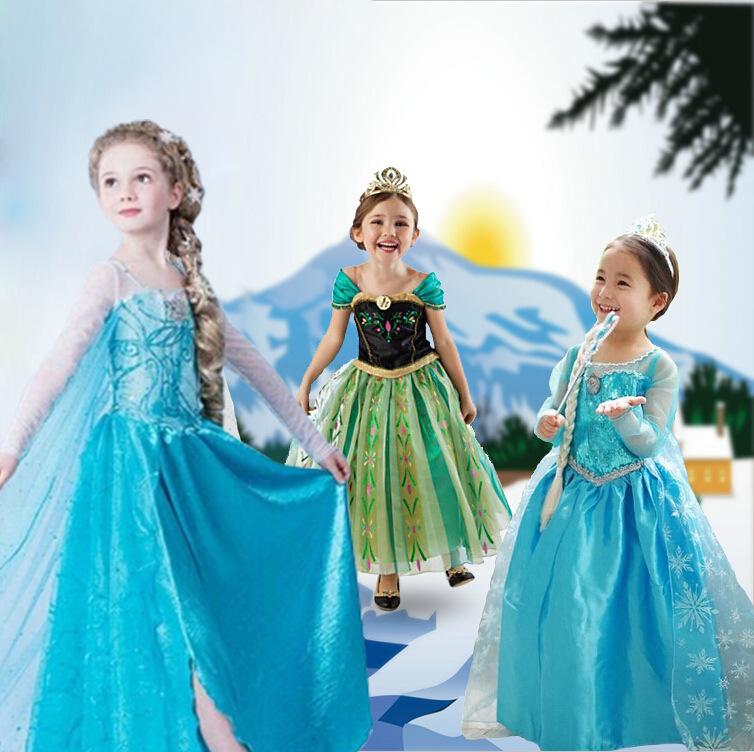 Hot fantasia Princess Anna Elsa Queen Girl Summer Diamond Dress Cosplay Costume Party Formal Dresses Halloween(China (Mainland))