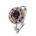 Brand Fashion New Style Women Ring Silver Color Sun Flower Female Ring with 8mm 2ct Rainbow