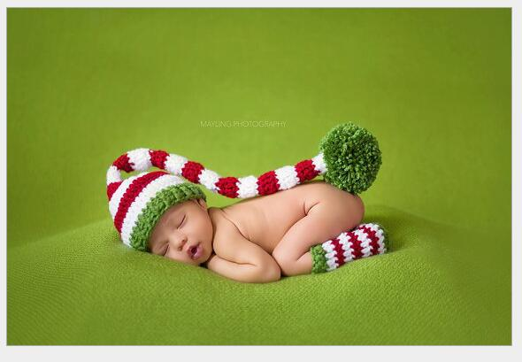 Christmas Design Hat Baby Handmade Beanies Costume Knitted newborn Long Tail Crochet photography props Newborn Hat PH24725742(China (Mainland))