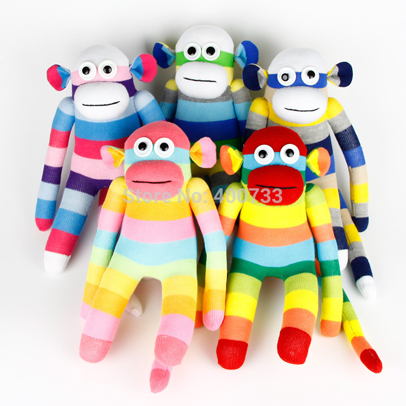 free shipping Adorable Child Birthday Gifts handmade stuffed sock animals doll baby toys sock monkey Christmas New Year Gift(China (Mainland))