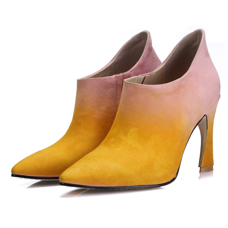 9cm Special Shape heel Pink women spring high heel boots 2015 new Solid and gradient designer ladies sheepskin slip-on shoes(China (Mainland))