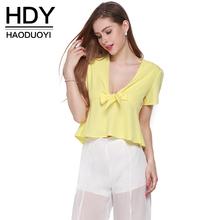 HDY Haoduoyi Fashion Pleated Tops Women Short Sleeve Female Chiffon Shirts Chic Bow Deep V-neck Solid Yellow Blouses Shirts(China (Mainland))