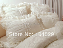 60S Classic Korean  satin jacquard luxury lace embroidery romantic princess Dream bedding sets 6pcs/bedclothes/ comforter sets(China (Mainland))