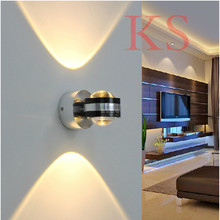 Modern double mirror wall lamp 1W*2 LED Aluminum and stainless steel material The corridor porch wall decorating light fixture(China (Mainland))