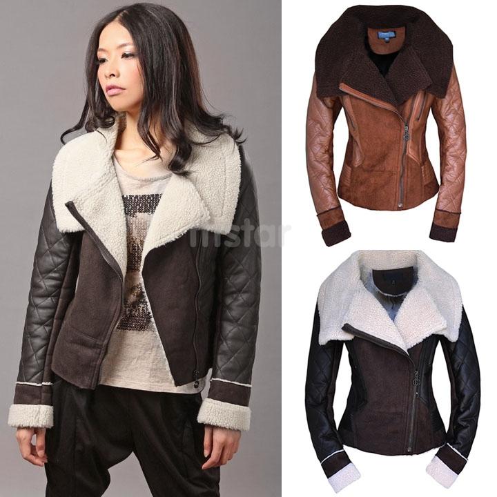 Winter Womens Leather Coat Plus size Fashion Faux Fur Turn-Down Collar Zipper Jacket Sheepskin Wool Outwear SV007036 - tttstar store