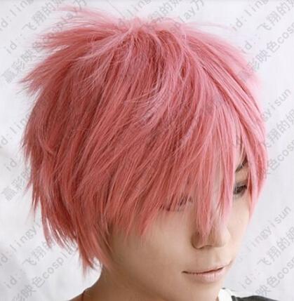 xiuli 0003107  Natsu Dragneel short pink cosplay party wig<br><br>Aliexpress