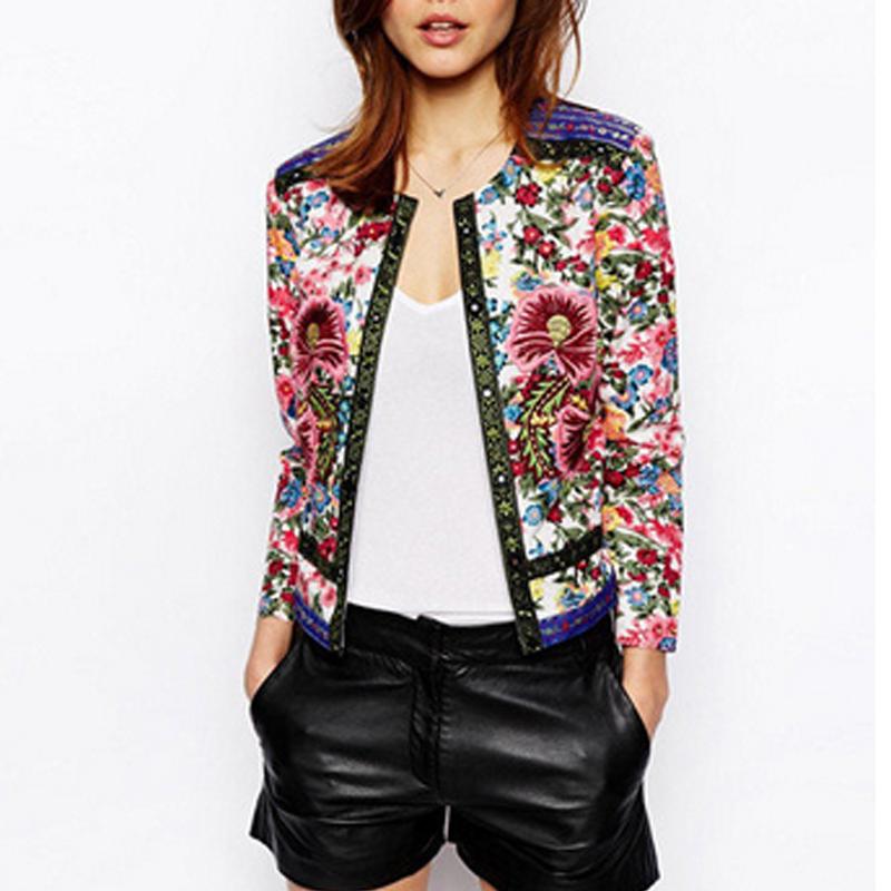 Spring Summer Jackets Elegant Short Cardigan Ethnic Embroidery Coats Women Jackets Outwear Tops(China (Mainland))