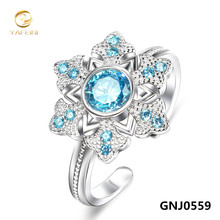 Genuine 925 Sterling Silver Gemstone Jewelry Ring Sapphire Jewelry Blue Ring For Women Adjustable Size GNJ0559(China (Mainland))